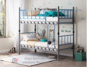 Дельта-Лофт-20.02.03 кровать двухъярусная бортики голубые
