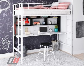 Севилья-1.2 кровать чердак металл белый, цвет лдсп стол-полка: белый - венге