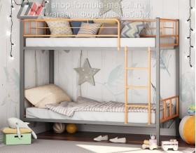 двухъярусная кровать Севилья-2-01 цвет серый / оранжевый