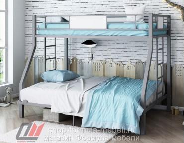 двухъярусная кровать Гранада 1400 цвет серый / белый
