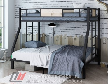 двухъярусная кровать Гранада 1400 цвет чёрный / дуб Айленд