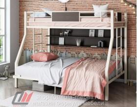двухъярусная кровать Гранада-П 140 (полка) цвет слоновая кость / венге