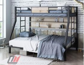 двухъярусная кровать Гранада-П 140 (полка) цвет чёрный / дуб Айленд