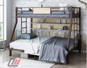 двухъярусная кровать Гранада-П 140 (полка) цвет коричневый / светлый ясень шимо