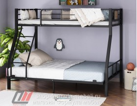 двухъярусная кровать Гранада-1 140 цвет чёрный / дуб Айленд