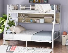 двухъярусная кровать Гранада-1П 140 цвет белый / светлый ясень шимо