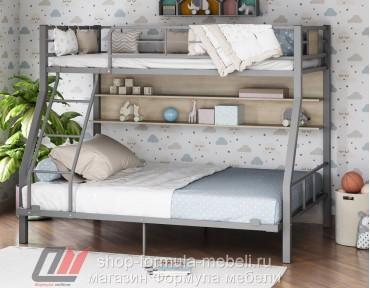 двухъярусная кровать Гранада-1П 140 цвет серый / дуб Сонома