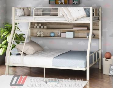двухъярусная кровать Гранада-1П 140 цвет слоновая кость / дуб Айленд