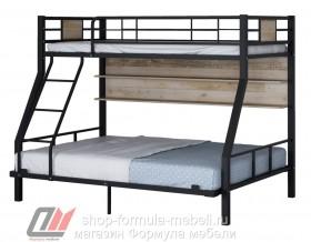 двухъярусная кровать Гранада-1П 140 цвет чёрный / дуб Айленд