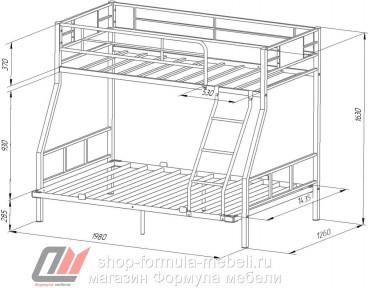 двухъярусная кровать Гранада-1П 140 размеры
