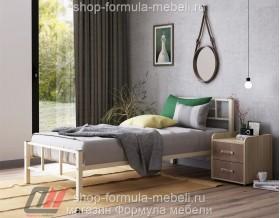 металлическая кровать Кадис односпальная, цвет слоновая кость