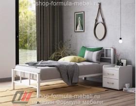 металлическая кровать Кадис односпальная, цвет белый