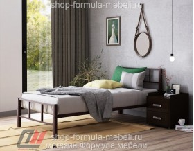 металлическая кровать Кадис односпальная, цвет коричневый