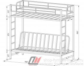 кровать чердак с диваном Мадлен размеры