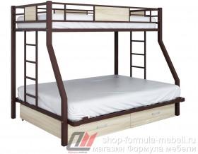 двухъярусная кровать Гранада-ЯЯ 140 (ДВА ЯЩИКА) цвет коричневый / светлый ясень шимо