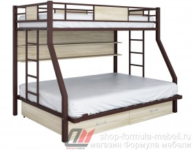 двухъярусная кровать Гранада-ПЯЯ 140 (два ящика и полка) цвет коричневый / светлый ясень шимо