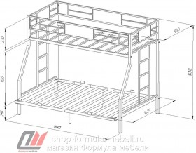 двухъярусная кровать Гранада 140 схема с размерами