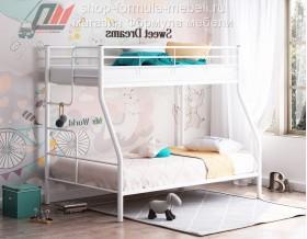 кровать Гранада-3 белая, лестница слева