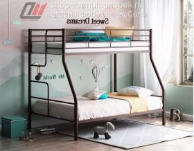 кровать Гранада-3 коричневая, лестница слева