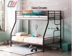 кровать Гранада-3 коричневая, лестница справа