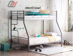 кровать Гранада-3 серая, лестница слева