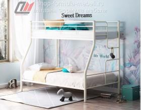 кровать Гранада-3 слоновая кость, лестница справа