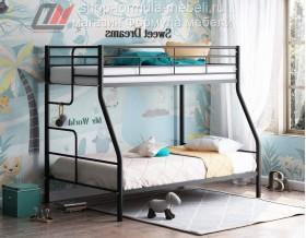 кровать Гранада-3 чёрная, лестница слева