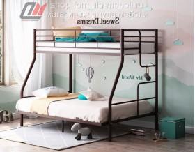 кровать Гранада-3 140 коричневая, лестница справа