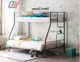 кровать Гранада-3 140 серая, лестница справа