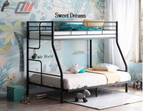 кровать Гранада-3 140 чёрная, лестница слева