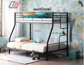 кровать Гранада-3 140 чёрная, лестница справа