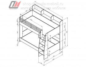 двухъярусная кровать Соня-5 схема с размерами