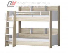 двухъярусная кровать Соня-5 лестница слева, ясень шимо светлый / белый