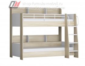 двухъярусная кровать Соня-5 лестница справа, ясень шимо светлый / белый