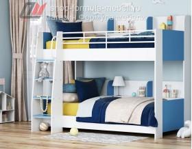 двухъярусная кровать Соня-5 лестница слева, белый / голубой