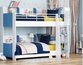 двухъярусная кровать Соня-5 лестница справа, белый / голубой