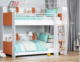 двухъярусная кровать Соня-5 лестница справа, белый / оранжевый