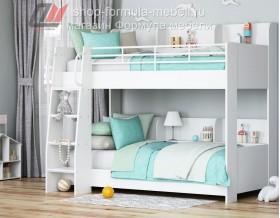 двухъярусная кровать Соня-5 лестница слева, цвет белый