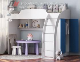 кровать-чердак Соня-1 белый / голубой