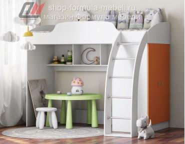 кровать-чердак Соня-1 белый / оранжевый