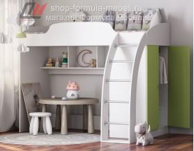 кровать-чердак Соня-1 белый / салатовый