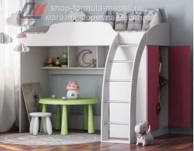 кровать-чердак Соня-1 белый / розовый