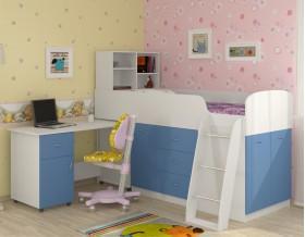 кровать чердак Дюймовочка-1 цвет белый / голубой