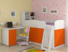 кровать чердак Дюймовочка-1 цвет белый / оранжевый