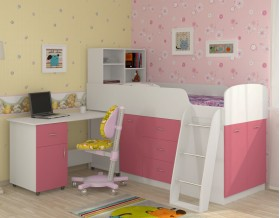 кровать чердак Дюймовочка-1 цвет белый / розовый