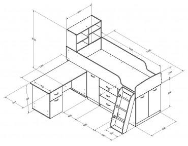 кровать чердак Дюймовочка-1 размеры