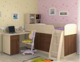 кровать чердак Дюймовочка-1 цвет дуб молочный / орех