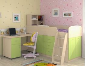 кровать чердак Дюймовочка-1 цвет дуб молочный / салатовый