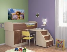 кровать чердак Дюймовочка-2 цвет дуб молочный / орех