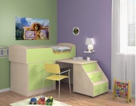 кровать чердак Дюймовочка-2 цвет дуб молочный / салатовый